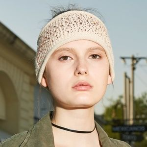 Dahlia Cashmere Sparkles Winter Headband - Cream